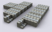 US Defict Spending & Revenue Visualized in $100 bills